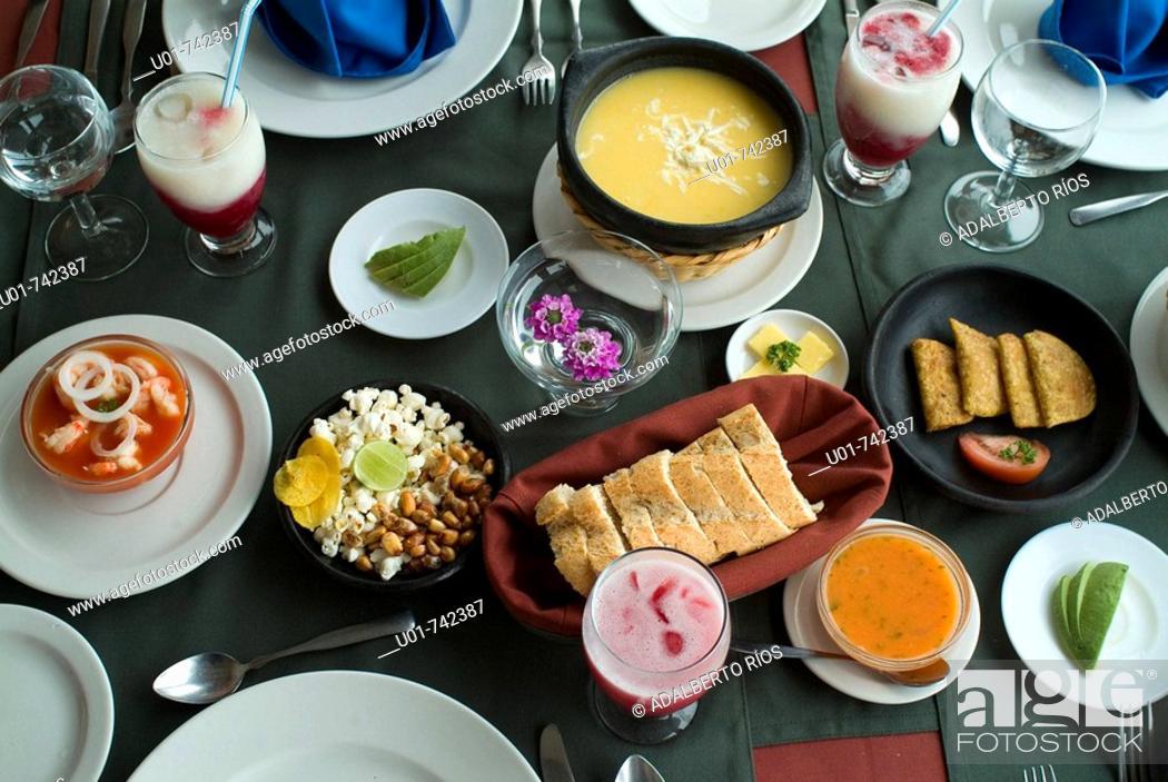 Stock Photo: ecuatorian dishes at the El Crater restaurant.