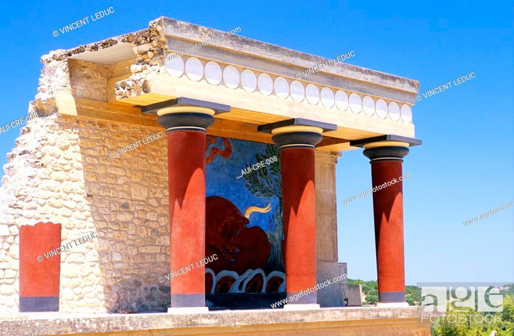 Stock Photo: Greece - Crete - Knossos - Minoens Site - Taurokathapsie Fresco.