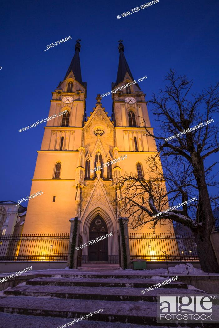 Stock Photo: Austria, Styria, Admont, Admont Abbey, exterior, winter, dusk.