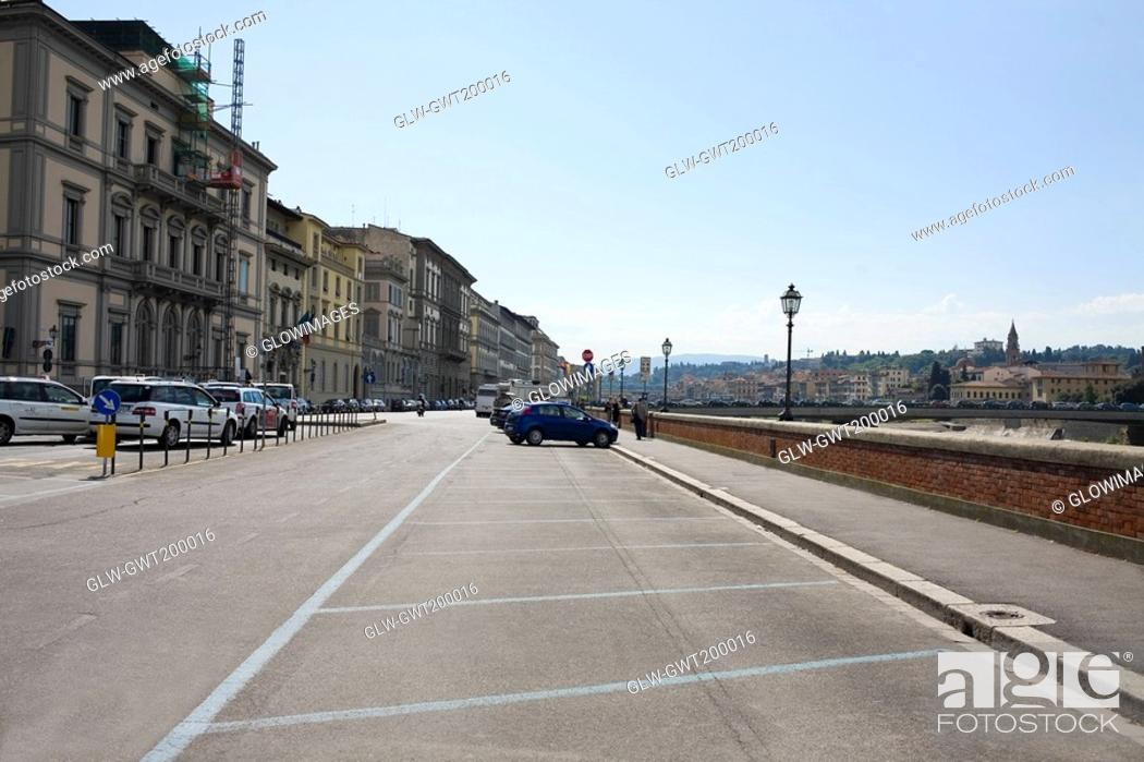 Stock Photo: Buildings along a road, Florence, Italy.