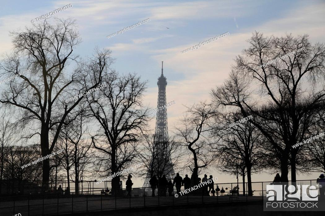 Stock Photo: Eiffel Tower in the winter, as seen from the Place de la Concorde, Paris, France, Europe.