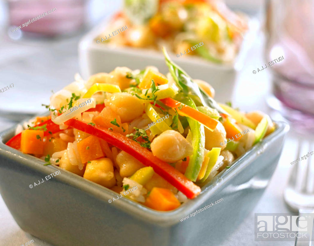 Stock Photo: Chickpeas and rice stew.