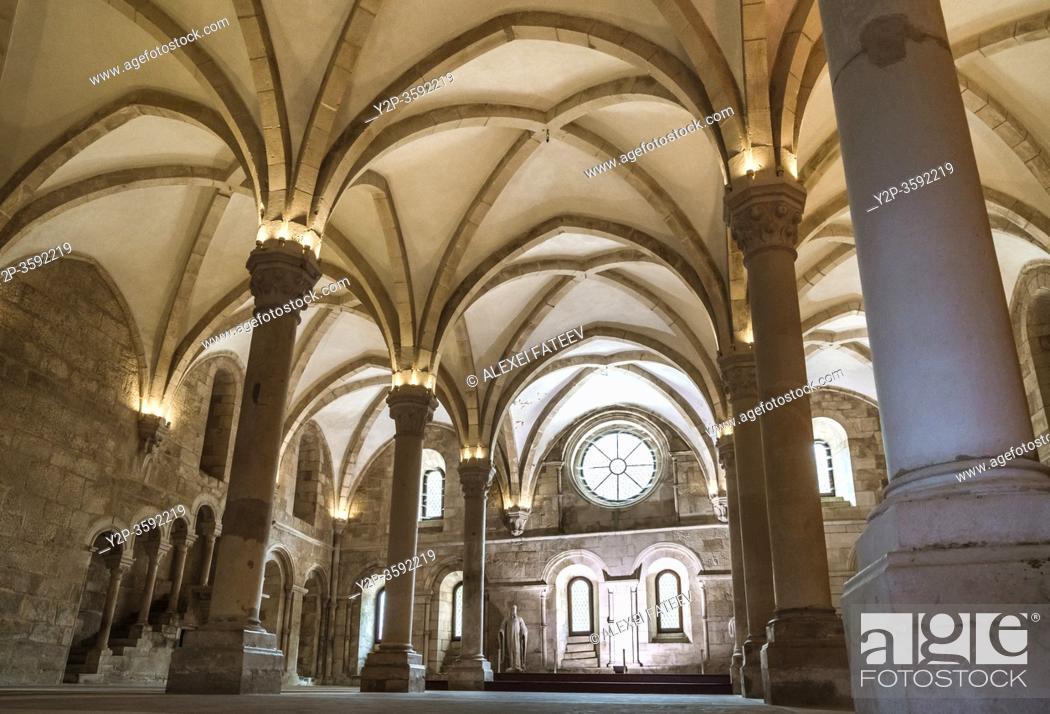 Stock Photo: Refectory at the Monastery Santa Maria de Alcobaça, Portugal.