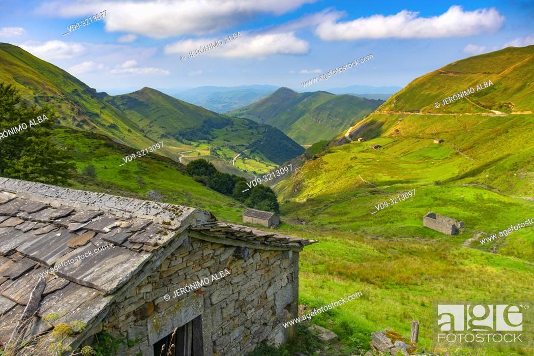 Stock Photo: Nature landscape. Cabañas pasiegas and meadows. Cottage in Valles pasiegos. Cantabria, Northern Spain, Europe.