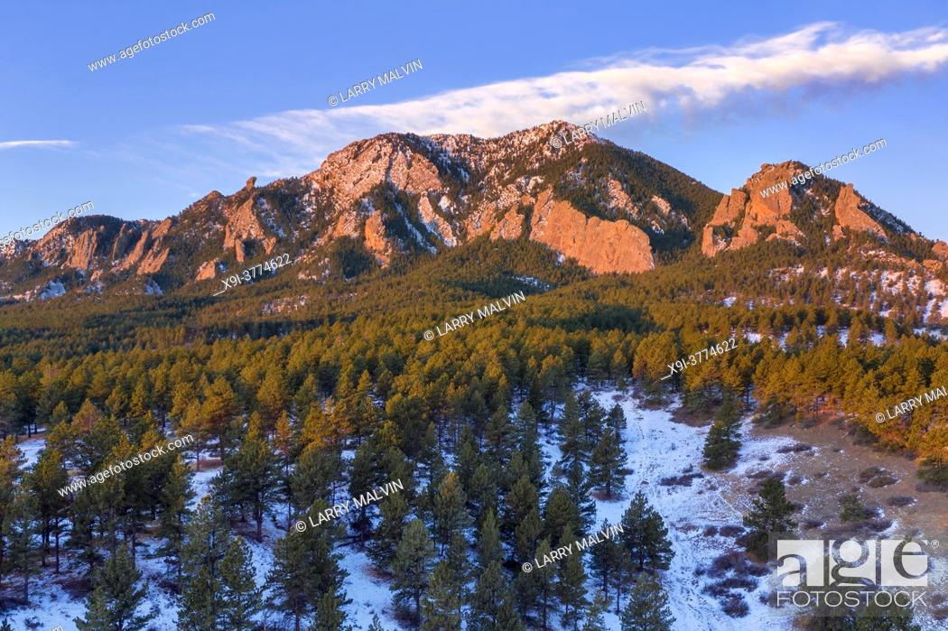 Stock Photo: Aerial photo of Bear Peak along the Boulder, Colorado foothills just after sunrise in winter.
