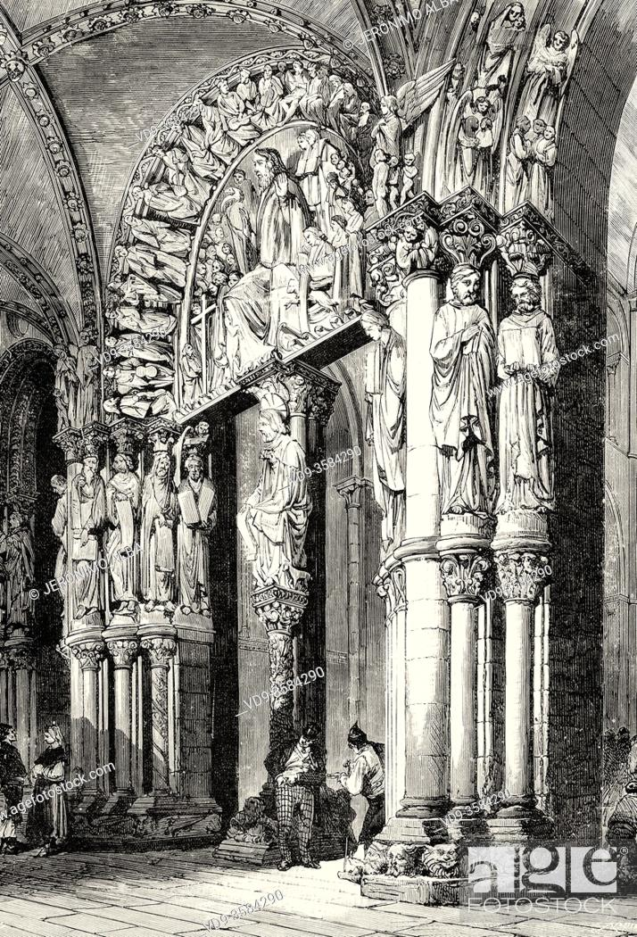 Stock Photo: Portico de la Gloria. Cathedral of Santiago de Compostela. La Coruña, Galicia. Spain. Old XIX century engraved illustration from La Ilustracion Española y.