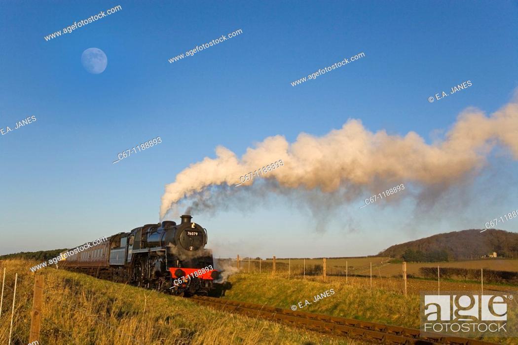 Stock Photo: Steam Locomotive Poppyline Norfolk UK Winter.
