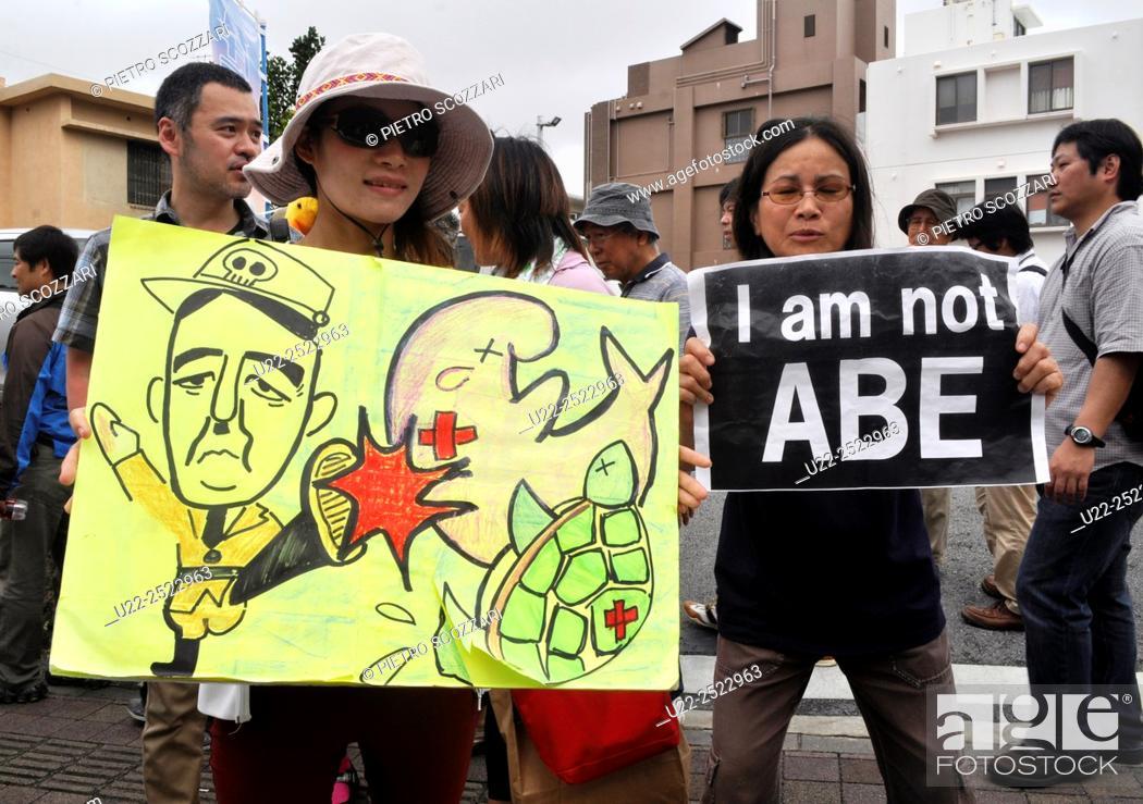 Naha Okinawa Japan Women Protesting Against Prime Minister Abe