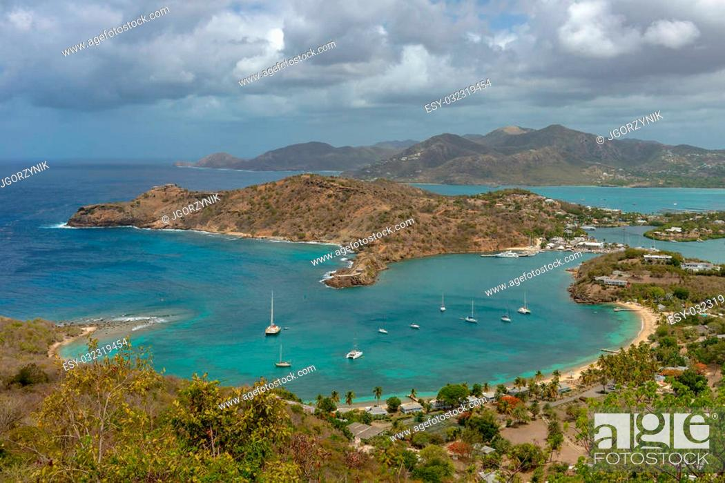 Stock Photo: View of English Harbor in Antigua from Shirley Heights.