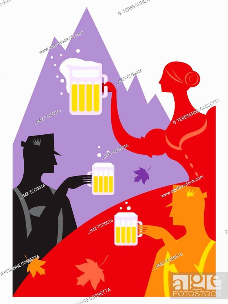 Stock Photo: People drinking beer at Oktoberfest.