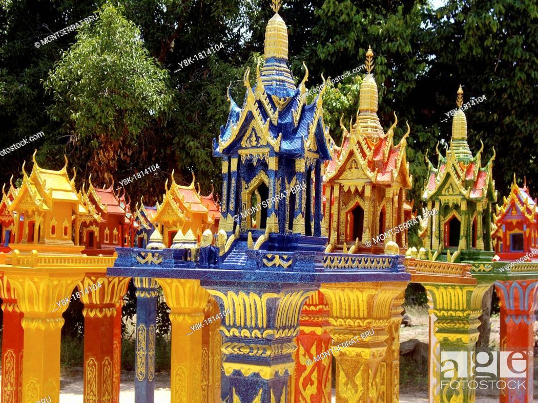 Stock Photo: Collection of Thai Spirit Houses.
