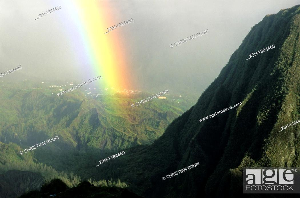 Stock Photo: rainbow over Salazie, at the foot of the Piton of Anchaing Reunion island, overseas departement of France, Indian Ocean.