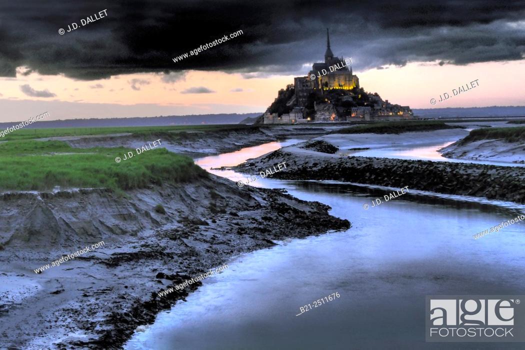 Stock Photo: Mont Saint-Michel, Manche, Normandy, France.