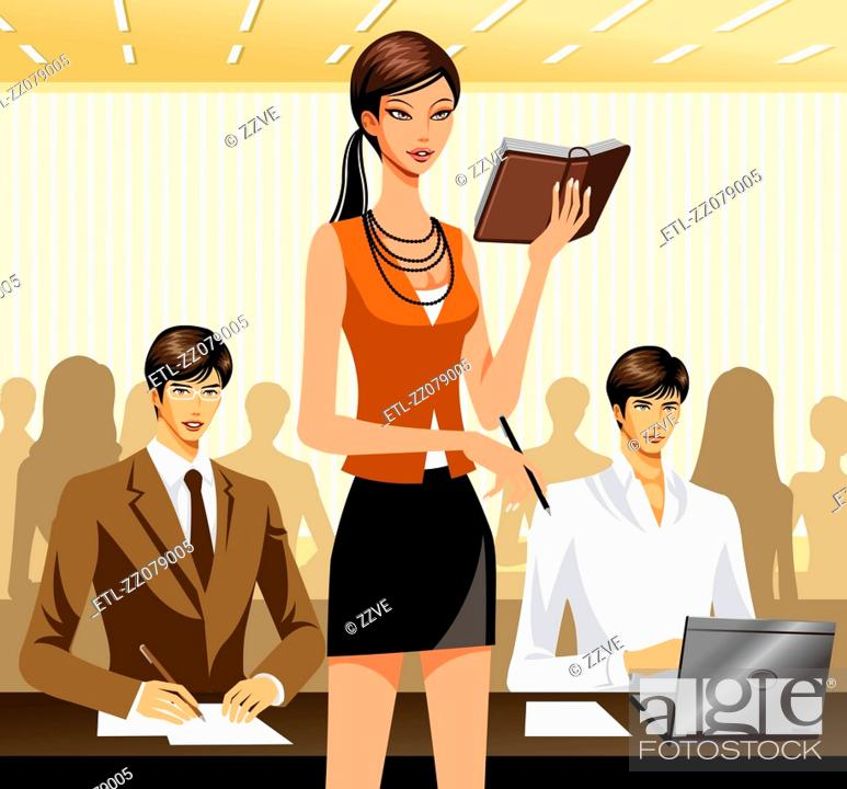Stock Photo: Two male office workers sitting at desk, female supervisor giving them Note.