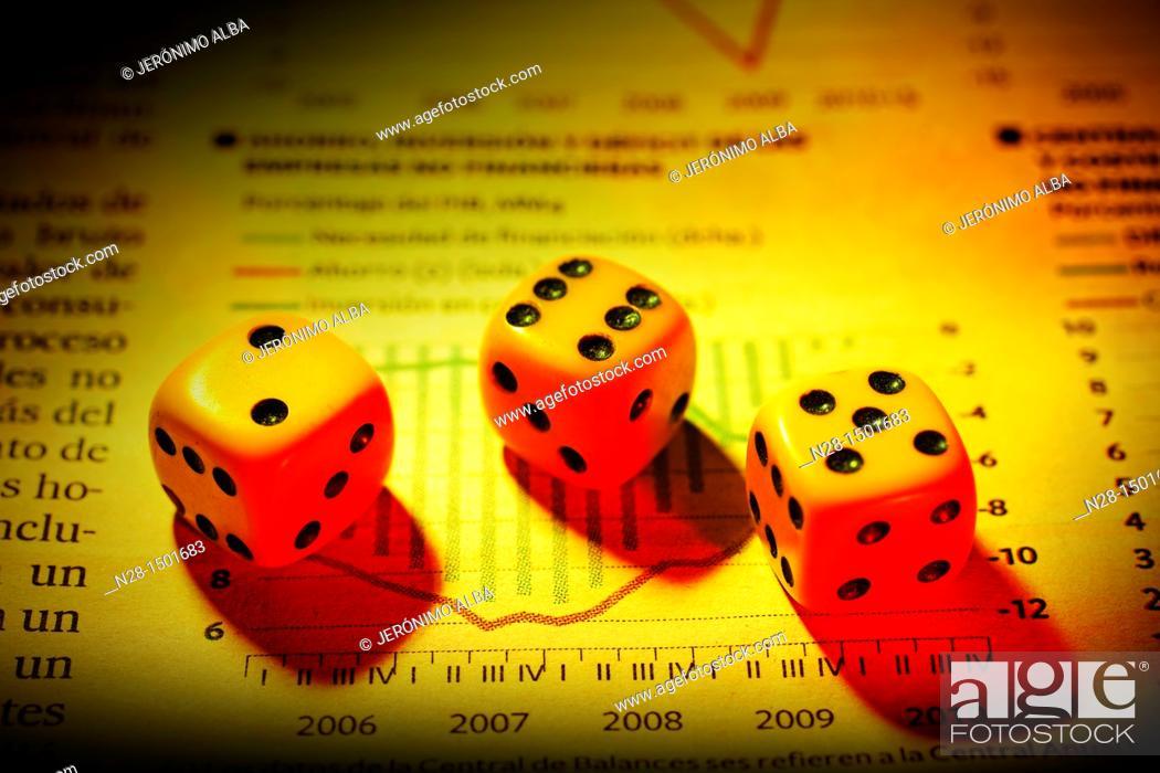 Stock Photo: Dices and economic plan.