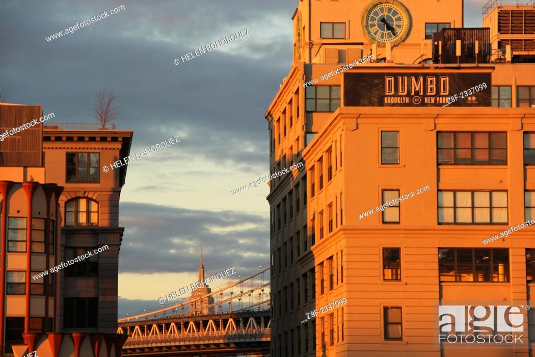 Stock Photo: The Empire State Building seen from the neighborhood of Dumbo, Brooklyn.
