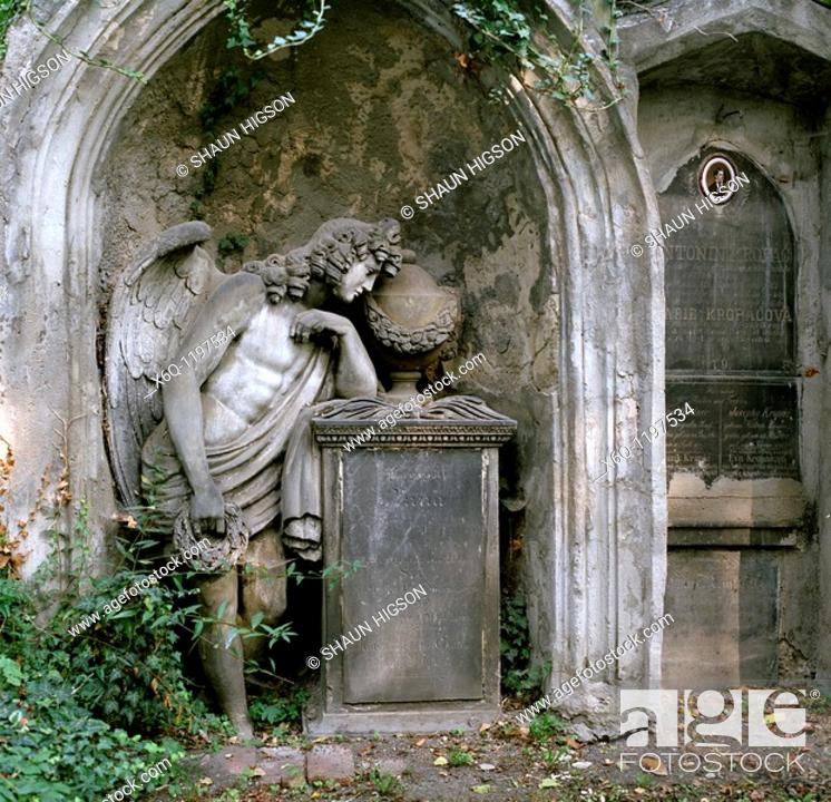 Stock Photo: The Olsany Cemetery in Prague in the Czech Republic in Europe.