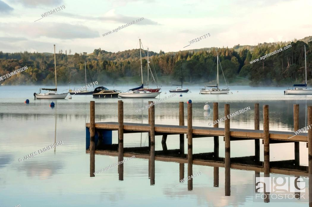 Stock Photo: Jetty on Lake Windermere in Lake District, England, Europe.