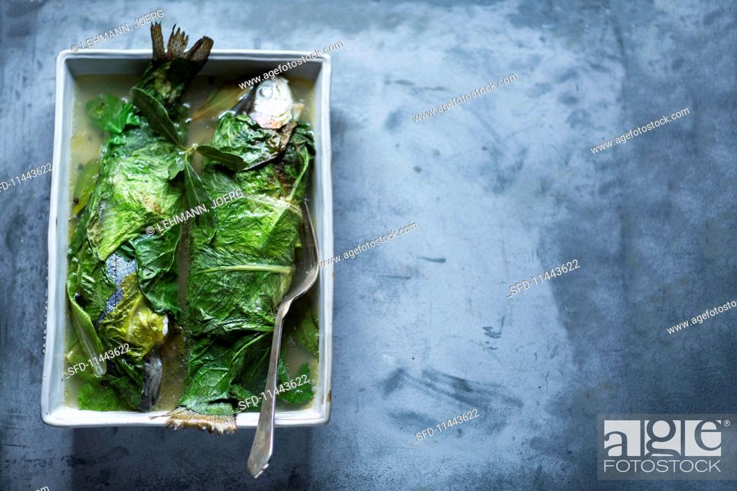 Photo de stock: Trout wrapped in leaves.
