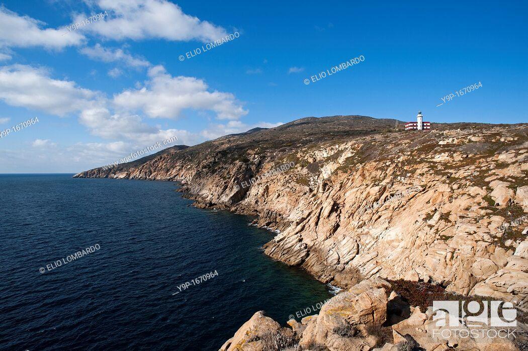 Stock Photo: Punta di Capel Rosso and Cala Schizzatoio, Giglio Island, Grosseto, Tuscany, Italy.