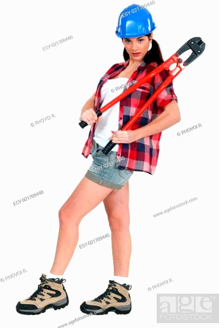 Photo de stock: Attractive brunette holding bolt-cutters.