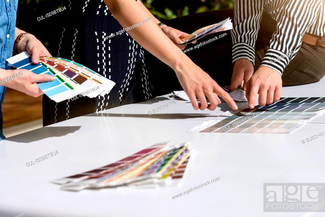 Stock Photo: Colleagues brainstorming with colour charts.