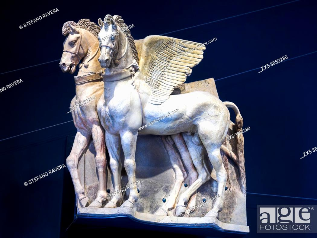 Stock Photo: Etruscan Winged Horses - Tarquinia National Archaeological Museum, Italy.