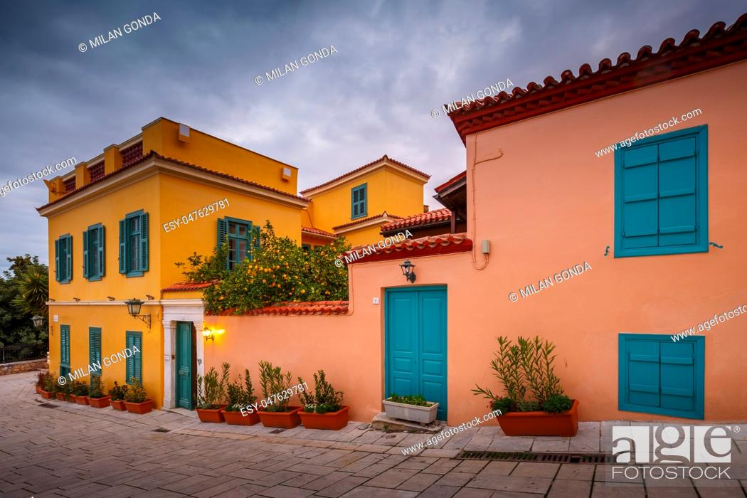 Stock Photo: Architecture in Plaka, the old town of Athens, Greece. .