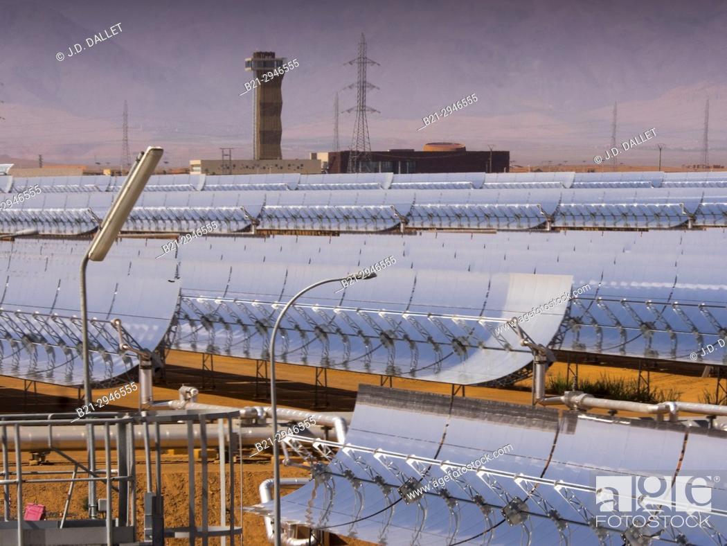 """Stock Photo: Morocco, Ouarzazate, """"""""Noor I"""""""" solar Energy plant, world largest."""