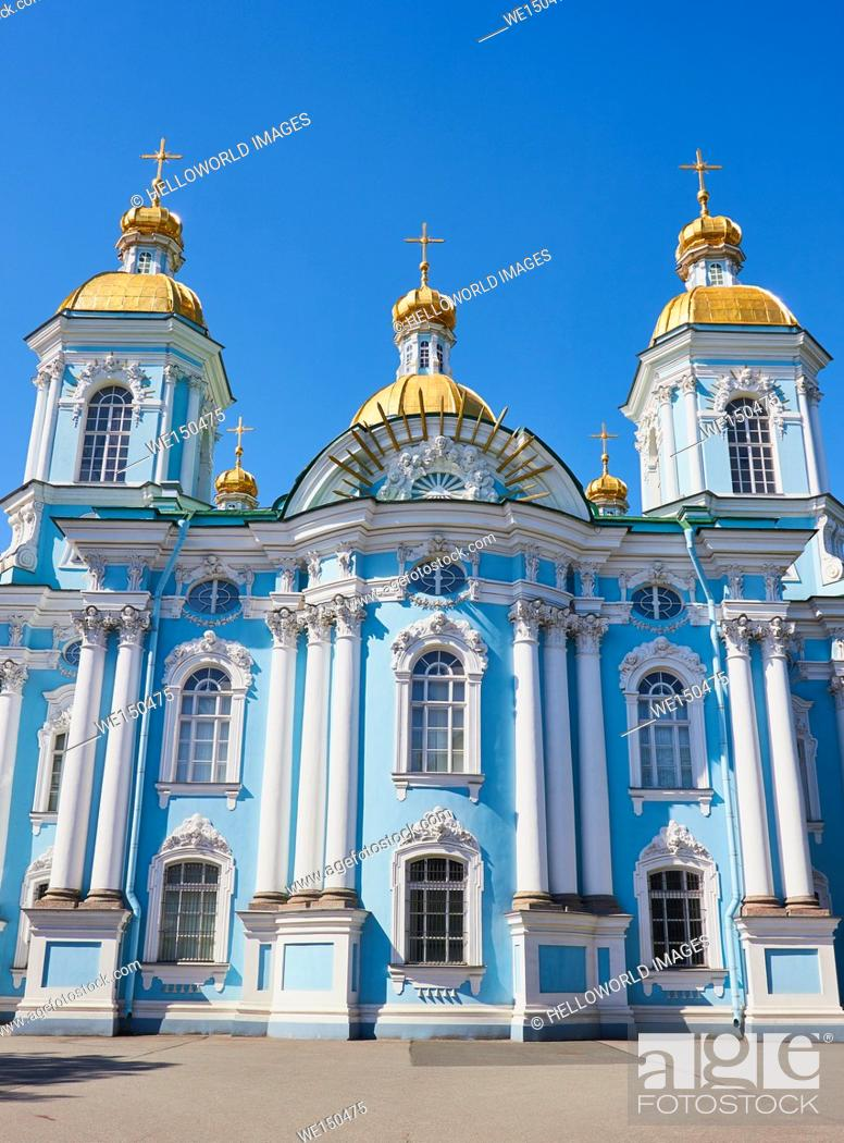 Stock Photo: Baroque St Nicholas' Cathedral, Sennaya Ploshchad, St Petersburg, Russia.