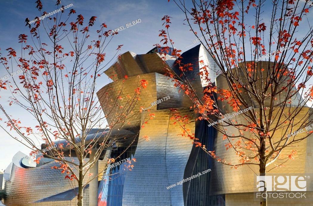 Stock Photo: Guggenheim Museum of Art, Bilbao, Biscay, Basque Country, Spain.