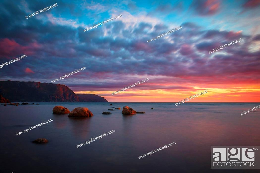 Stock Photo: Sunset, Rocky Harbour, Gros Morne National Park, Newfoundland & Labrador.