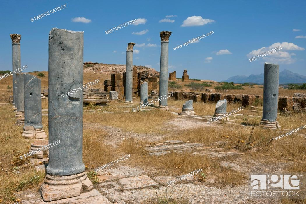 Stock Photo: Tunisia - Thuburbo Majus - Columns of the temple which became a Christian church.