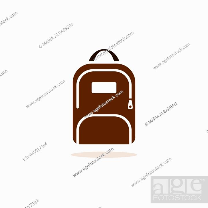 Vector: Backpack icon with shadow on beige background.