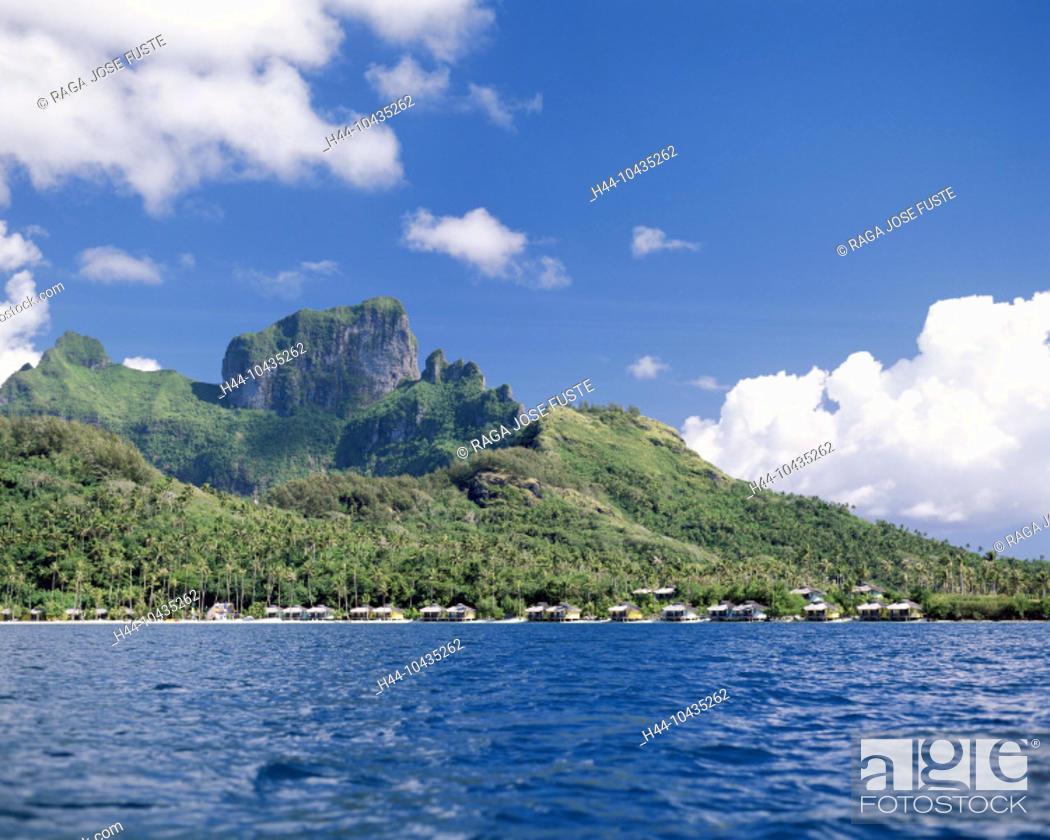 Stock Photo: 10435262, Bora Bora islands, isles, Pacific, Faaopore Bay, huts, Otemanu mountain, beach, seashore, clouds, weather,.