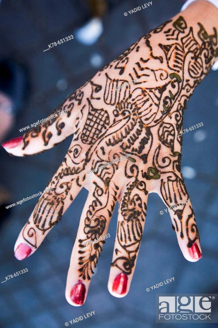 Stock Photo: Henna Tattoo, Marrakesh, Morocco.