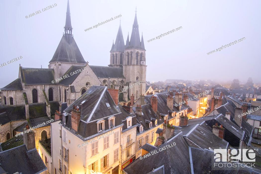 Stock Photo: Blois France on December 30, 2019: Old medieval houses with St Nicholas church from castle viewpoint in Loire Valley.