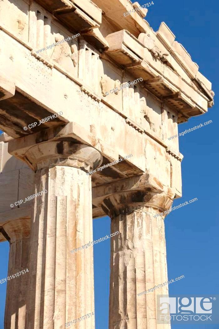 Stock Photo: Acropolis of Athens. Parthenon frieze. Greece.