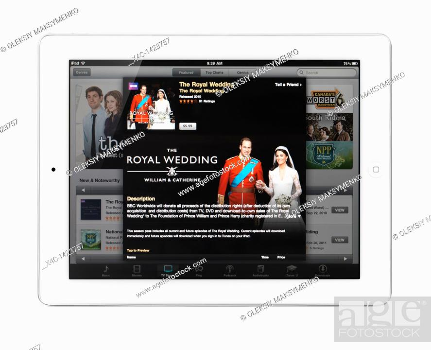 Apple iPad 2 tablet computer with iTunes TV shows featuring the
