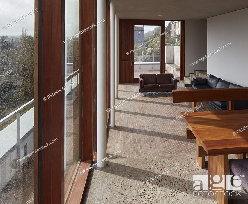 Living Room Interior With Full Height Glazing And Terrazzo
