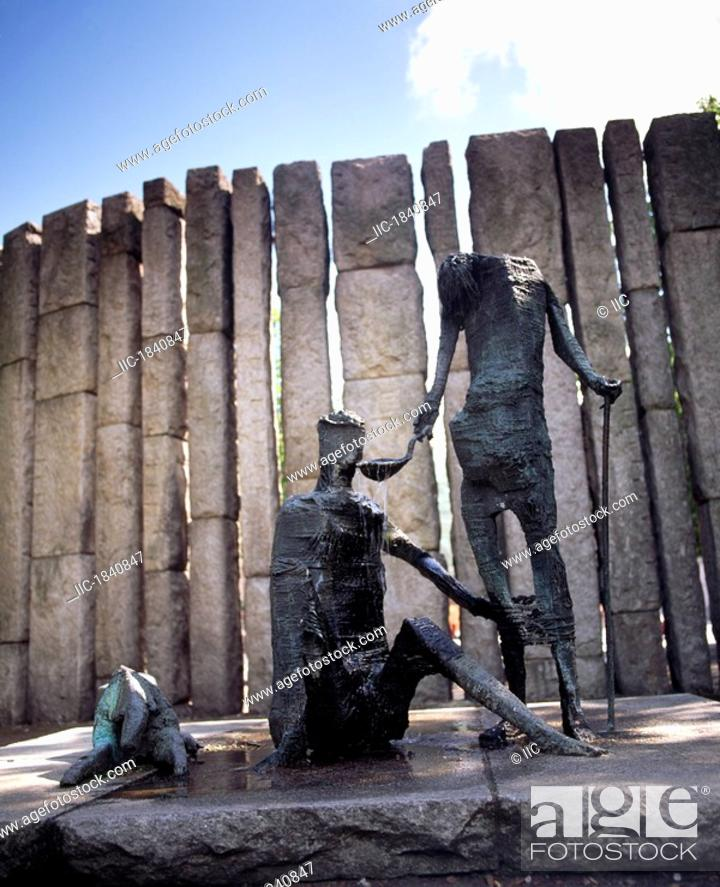 Stock Photo: Dublin, Sculpture, The Famine By Edward Delaney,.