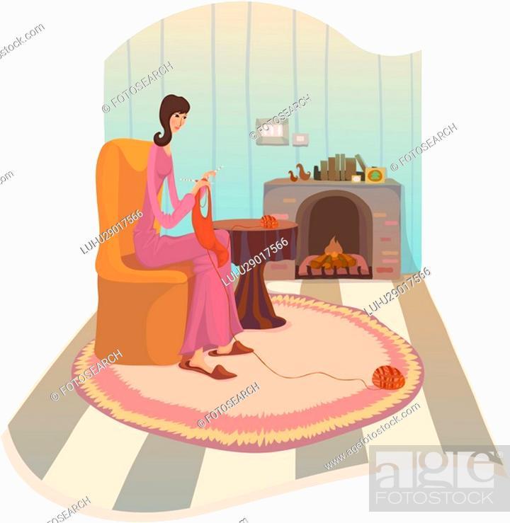 Stock Photo: knitting, winter, rockingchair, woman, human, hearth, season.