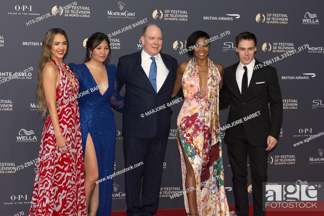 Stock Photo: Jessica Alba, Marie Chevalier, SAS Prince ALbert II de Monaco, Gabrielle Union and Luis Ducruet attend to Opening Ceremony of the 59th Monte-Carlo Television.