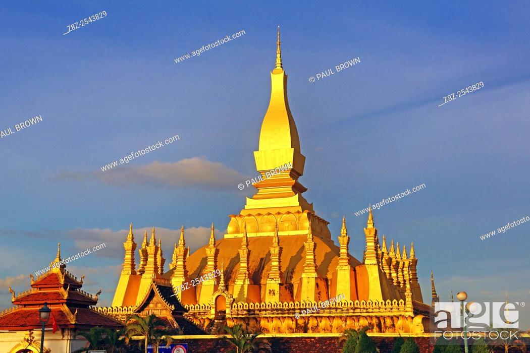 Stock Photo: Pha That Luang gold Stupa, Vientiane, Laos.