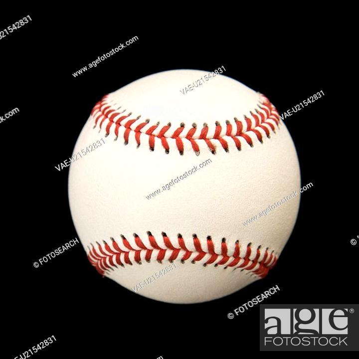 Stock Photo: Still life of baseball on black.