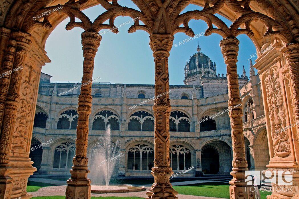 Stock Photo: cloister, Jeronimos Monastery, Belem, Lisbon, Portugal.