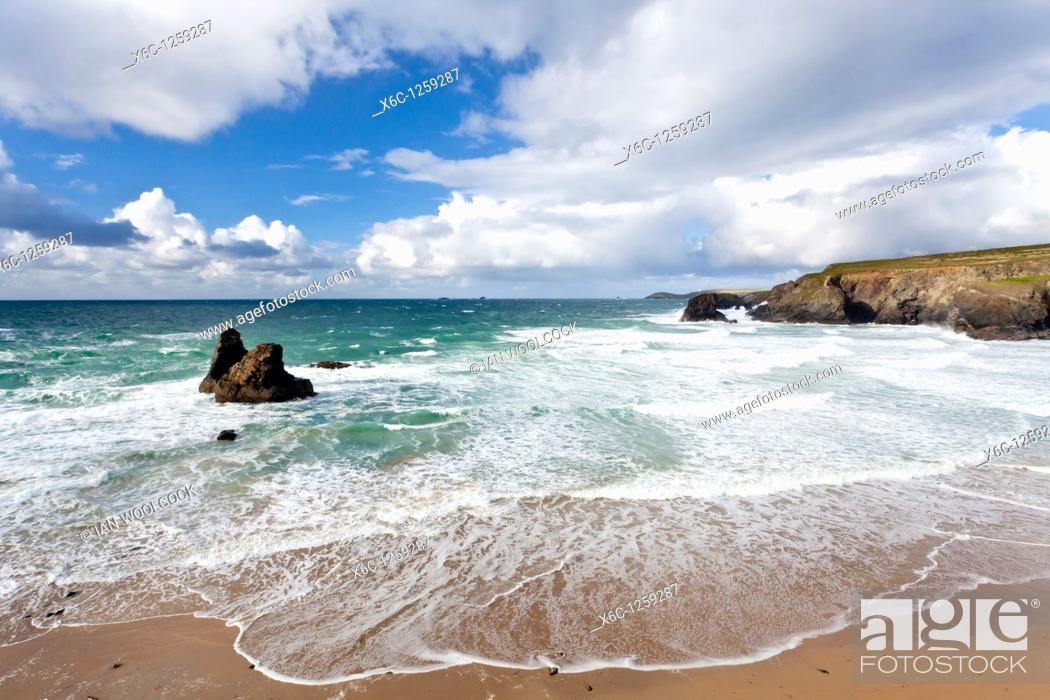 Stock Photo: Rough seas at Porthcothan Cornwall England UK.