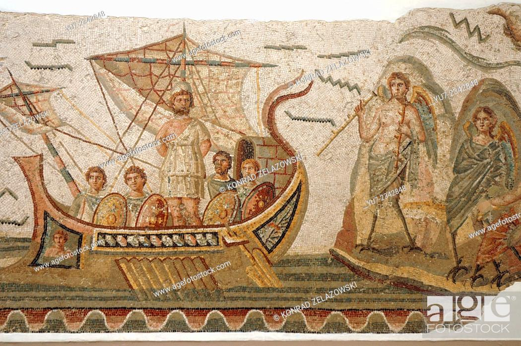 Photo de stock: Mosaic scene from Homer's Odyssey, Ulysses meeting with sirens in The Bardo museum in Tunis, capital of Tunisia.