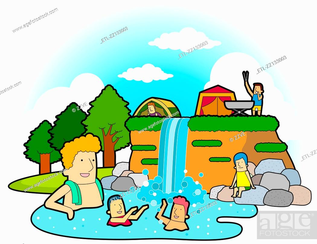 Stock Photo: Spa in the camping place.