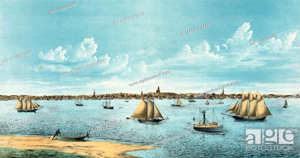 Stock Photo: Provincetown., from Long Point. Date c1877.